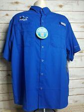 Columbia New Men's Tamiami Sports Shirt Fishing/Hunting Blue $39 Tag