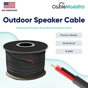 14AWG Speaker Cable Outdoor Direct Burial UV Wire Audio CL2 14/2 Gauge 250-500ft