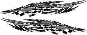 "Vinyl Boat Car Auto Truck Graphics Racing Decals Stickers 72"" set Checker Flag"