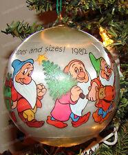 Walt Disney, Snow White 7-Dwarfs Ornament (Hallmark, QX217-3) Satin, 1982
