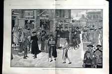 Christmas 1880 MORNING in OLD NEW YORK Revolutionary War Era Large Engraving