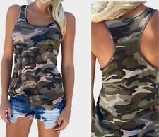 Damen Camouflage Weste Tanktops Sommer Bluse Shirt  T-Shirt Tops Oberteile Mode