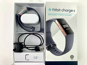 Fitbit Charge 3 Fitness Activity Tracker Blue Gray Classic Band Rose Gold E9