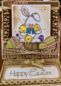 EASTER -  Bunny with Chicks - Handmade EASEL card BY DEE