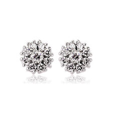 GORGEOUS 18K WHITE GOLD PLATED GENUINE CLEAR CUBIC ZIRCONIA ROUND STUD EARRINGS
