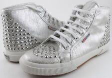 SUPERGA 2095 LAME STUD Silver Designer High Top Sneakers Womens 9.5 Mens 8