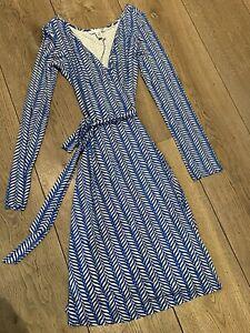 DVF Diane Von Furstenberg Long Sleeve Silk Wrap Dress Blue geometric Size US 12