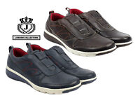 Mens Smart Casual Leather Trainers Comfort Slip On Sport Fashion Shoes UK Size