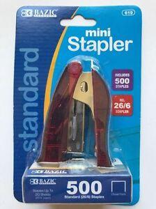 Mini Stapler + 500 Standard Staples + Built-in Stapler Remover NEW
