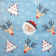 4 x Single Paper Napkins Christmas Snowflakes Funny Decors Decoupage Crafting 58