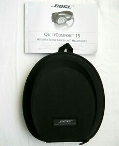 Bose QuietComfort 15 QC15 Noise Cancelling Headphones Carrying Case & Manual