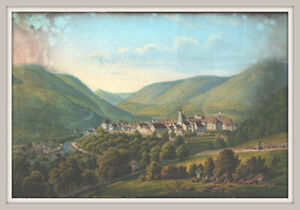Unbekannter Ort-Sehr schöne Vendute. Feine Darstellung-Gouache ca.15x22cm ~1850