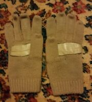 009 Vintage Womans knitted gloves tan with leather weave on Back