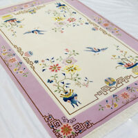 YILONG 4'x6 Pink Handmade Wool Carpet Floral Chinese Art Deco Area Rug