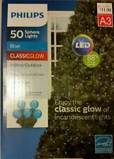 BLUE Sphere 50 count LIGHTS LED Christmas PHILIPS 16' Hannukah autism aware NEW