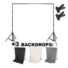 3x BACKDROP +Mount system - photo studio background: 2x Studio stand + crossbar