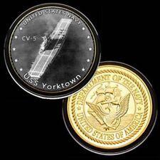 U.S. United States Navy   USS Yorktown CV-5   Gold Plated Challenge Coin