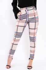 Womens Beige Tartan Check High Waisted Tapered Tailored Trouser Cigarette Pants