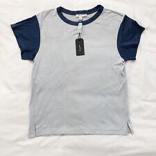 NWT Rag & Bone Colorblocked Penny Tee Shirt Silver Blue Womens Sz XS