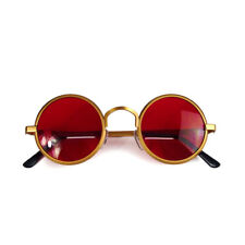 round sunglasses gold frame 1970s 1980s red lens Goth retro Steampunk