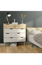 Oslo Retro Spindle Style 5 Drawer Chest of Drawers (2+3) in White and Oak