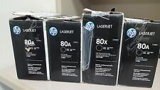 "LOT OF 4 HP LASERJET TONER CARTRIDGE 80A / 80X BLACK - USED -  ""AS IS"""