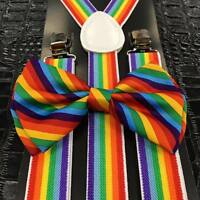 Rainbow Bow Tie And Suspender Matching Set Tuxedo Wedding Accessories