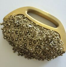 JIMMY CHOO Gold Bermuda Bag Metal Beads $3,300 Retail Made In Italy Suede Lined