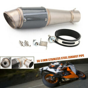 38-51mm Motorcycle Inclined Tailpipe Exhaust Pipe Fit For Honda Yamaha Kawasaki