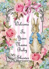 Personalised Peter Rabbit Baby Shower Welcome Print Party Decoration Mum