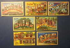 Lot of 7 Old Vintage 1940's - BIG LETTERS - CALIFORNIA - Linen POSTCARDS