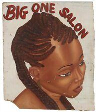 Vintage Shop Sign Signboard African Barber hand painted Ghana Hair Saloon Cut