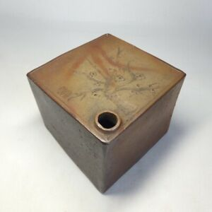 D0840: Japanese really old BIZEN stoneware square bottle with sculpture work