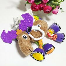 Baby Crinkle Squeaky Rattle Jingle Clanking Christmas Moose Hanging Sensory Toy
