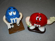 M and M Blue and Red Candy Dispensers Mars Incorporated 1991 Lot of 2