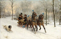 Oil painting Otto Eerelman - A ride four in the snow Horse-drawn sleigh & dog