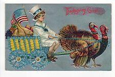 1910 THANKSGIVING GREETINGS PC Postcard PATRIOTIC Turkey EMBOSSED Turkeys