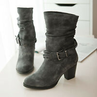 NEW Womens Ladies Mid-Calf Boots Leather Belt buckle Heels Pull on shoes US SIZE