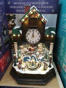 Musical Animated Christmas Village Scene Cuckoo Clock Table Decoration