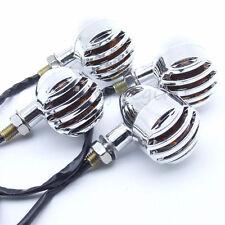 4× Motorcycle Bullet Turn Signal Light Blinker Amber Bulb Indicator Lamp Chrome