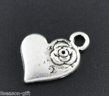 50 Silver Tone Heart&Flower Charms Pendants 15x11mm