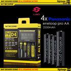 Nitecore D4 Digicharger + 4x Panasonic eneloop pro 2550mAh NiMH AA Rechargeable