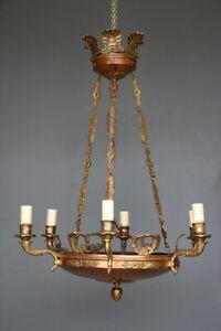 Large antique French Empire style brass copper hanging dish chandelier 6 arms
