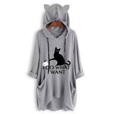 Fashion Women Print Cat Ear Hooded Long Sleeve Pocket Irregular Top Blouse Shirt