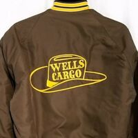 Wells Cargo Mens Satin Bomber Jacket Vtg 80s Made In USA Brown Size Medium