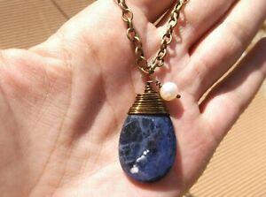 Natural Sodalite Teardrop, White FW Pearl & Bronze Chain Necklace  Sundance Arti