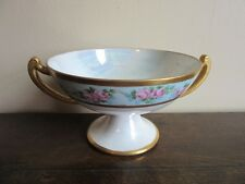 """1950's Hand painted pearl luster handled 8"""" compote bowl. Pink Roses"""