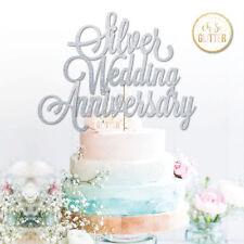 Aniversario de plata Cake Topper 25th aniversario de bodas Glitter Silver De Boda