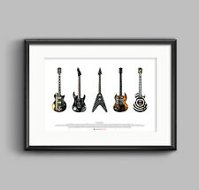 Famous Metal Guitars - ART POSTER A2 size