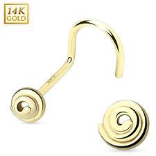 """14 Karat 14K Solid Yellow Gold Spiral Nose Stud Screw Ring 20g 5/16"""""""